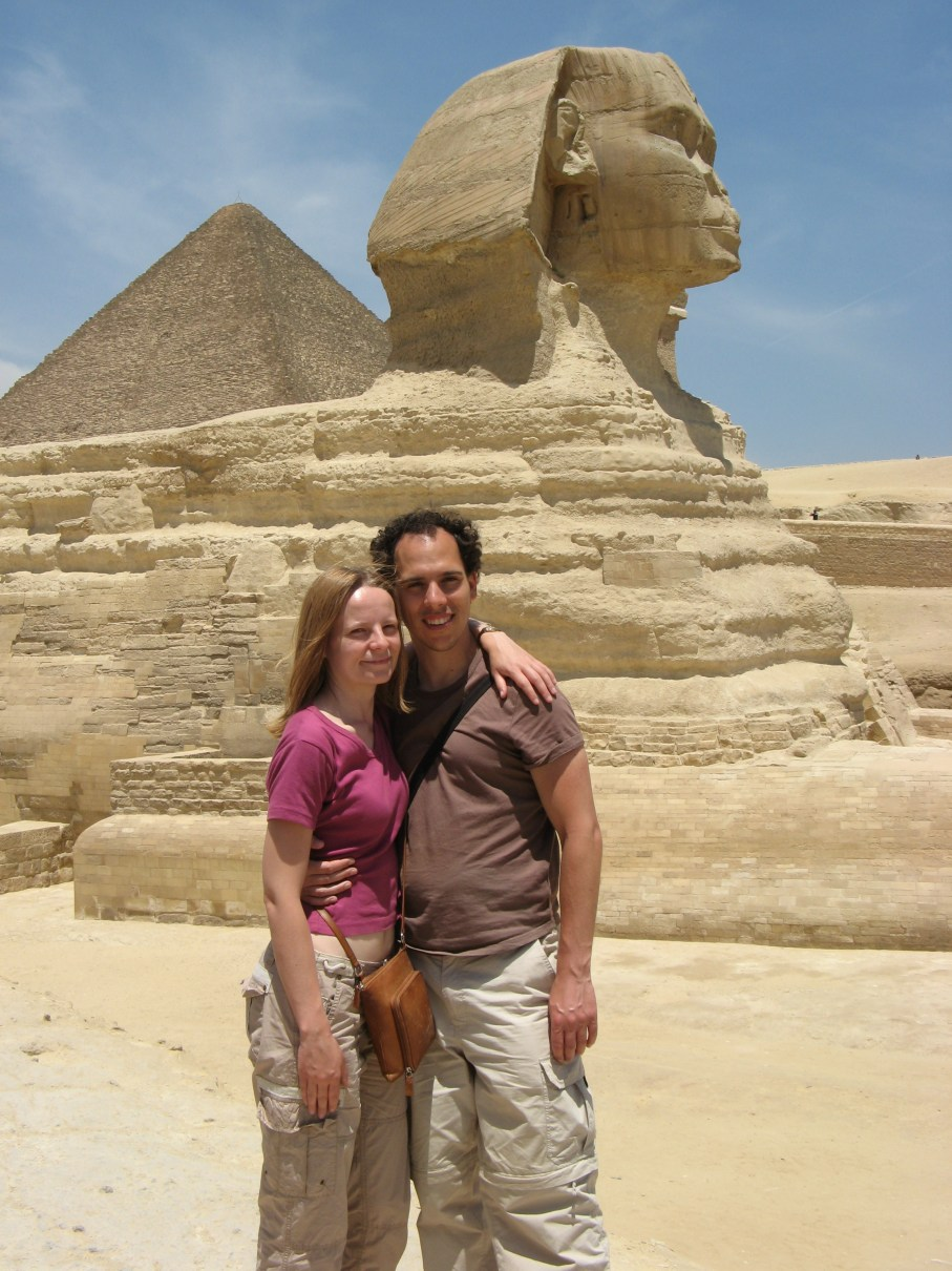 Standing in front of the Sphinx