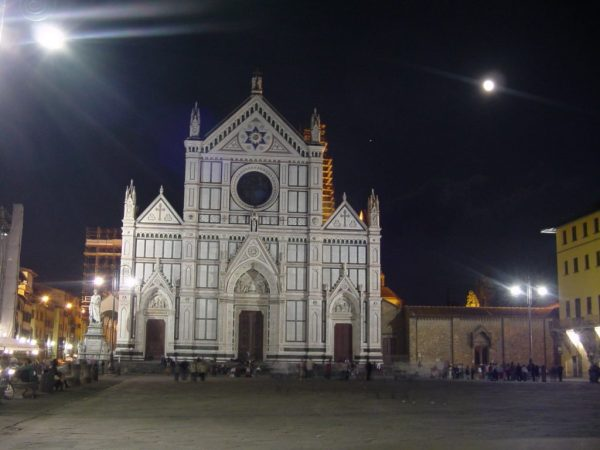 Basilica di Santa Croce, Florence, Italy at night