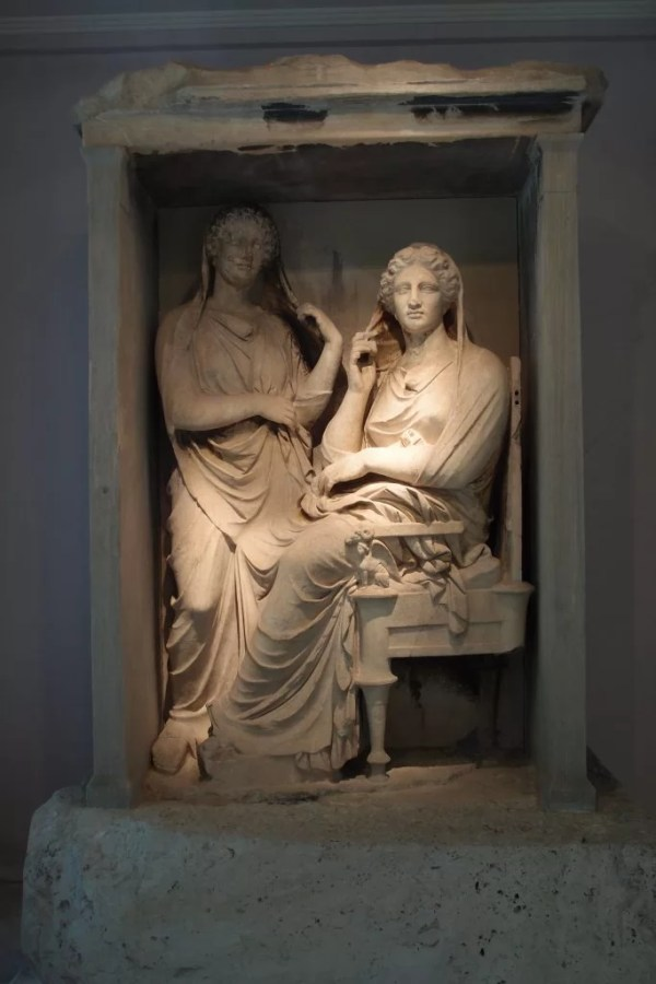 Grave relief of Demetria and Pamphile, Kerameikos Museum, Athens