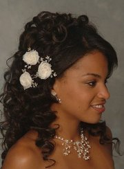 long curls black wedding hairstyle