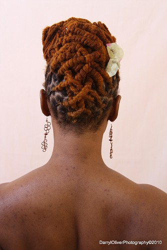 Brown Colored Dreadlock Updo Hairstyle Back View