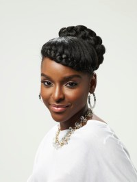 french braid natural updo - thirstyroots.com: Black Hairstyles