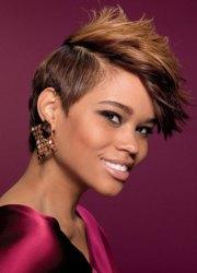 short choppy black women haircut
