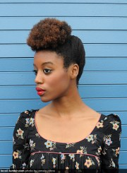 updo natural hair afro puff