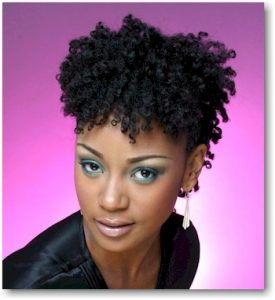 Short Curly Pinned Up Hair Black
