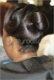 relaxed hairstyles updo with finger