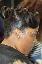 relaxed hairstyles updo finger