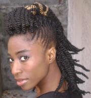 twists braids hairstyle - side