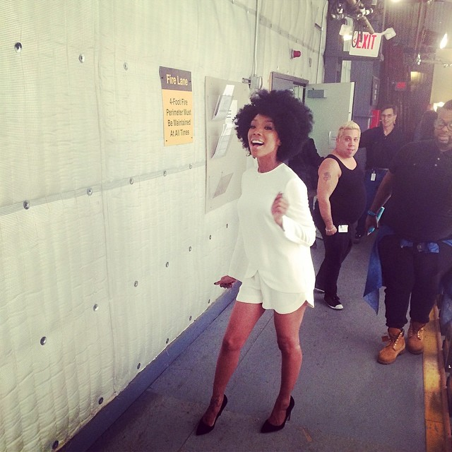 Brandy shows off her fro Heat Free hair