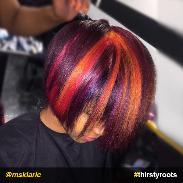 Fierce Red Ombre Hair Color On Black Hair
