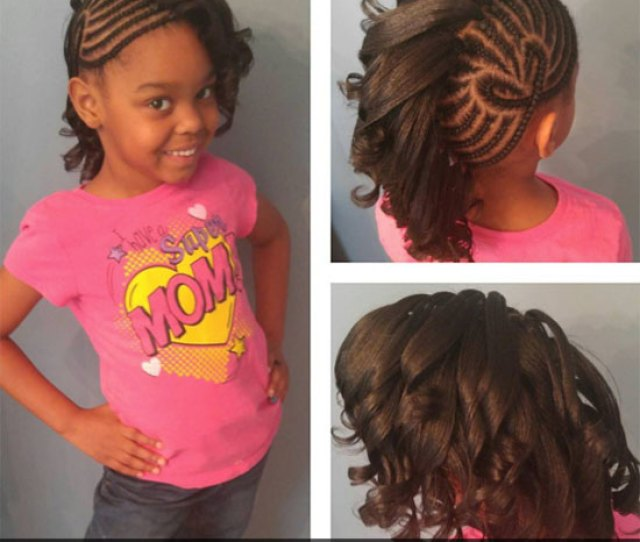 Braids With Curls Natural Hairstyle For Little Girls