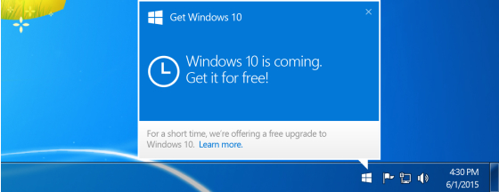 Windows 7 to Windows 10 Upgrade Notification