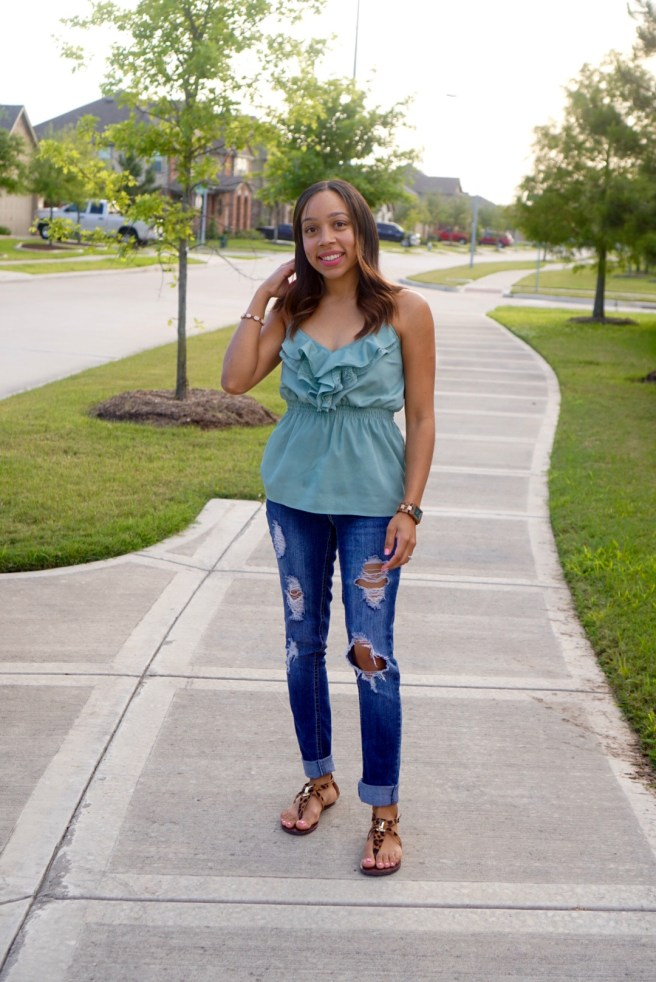 Distressed jeans are perfect for spring and a must have for any closet.