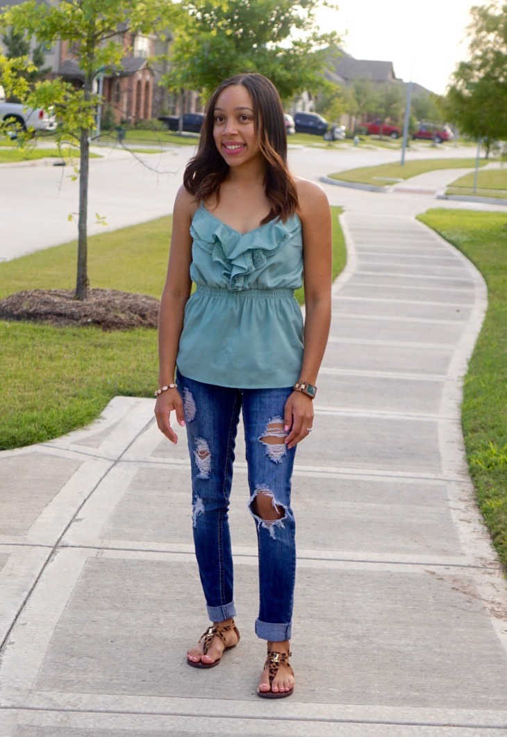 Casual + Chic Look with Distressed Jeans