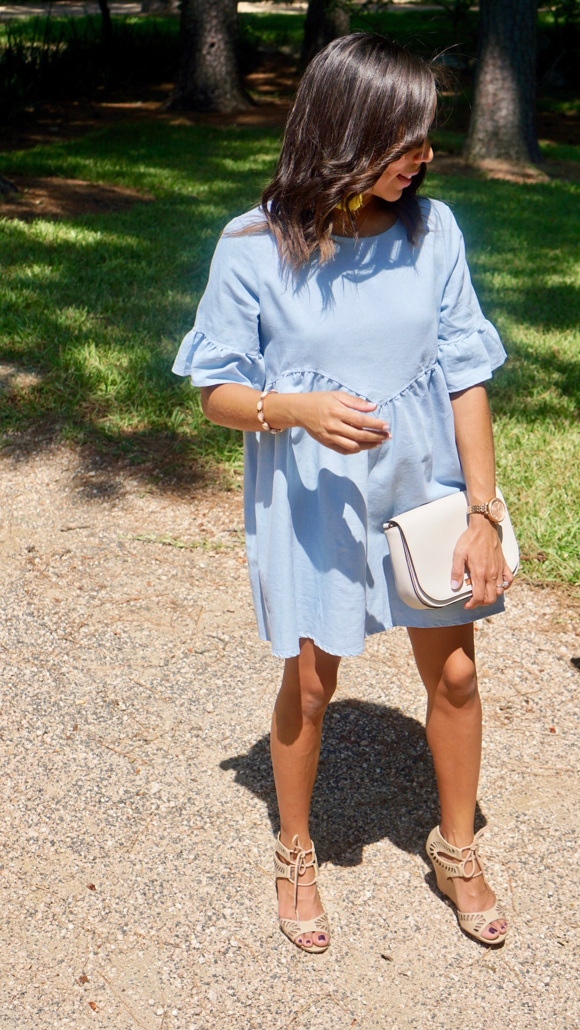 Blue Bell Sleeve Dress