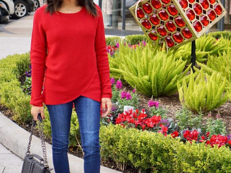 Red Tulip Hem Sweater + Combat Boots