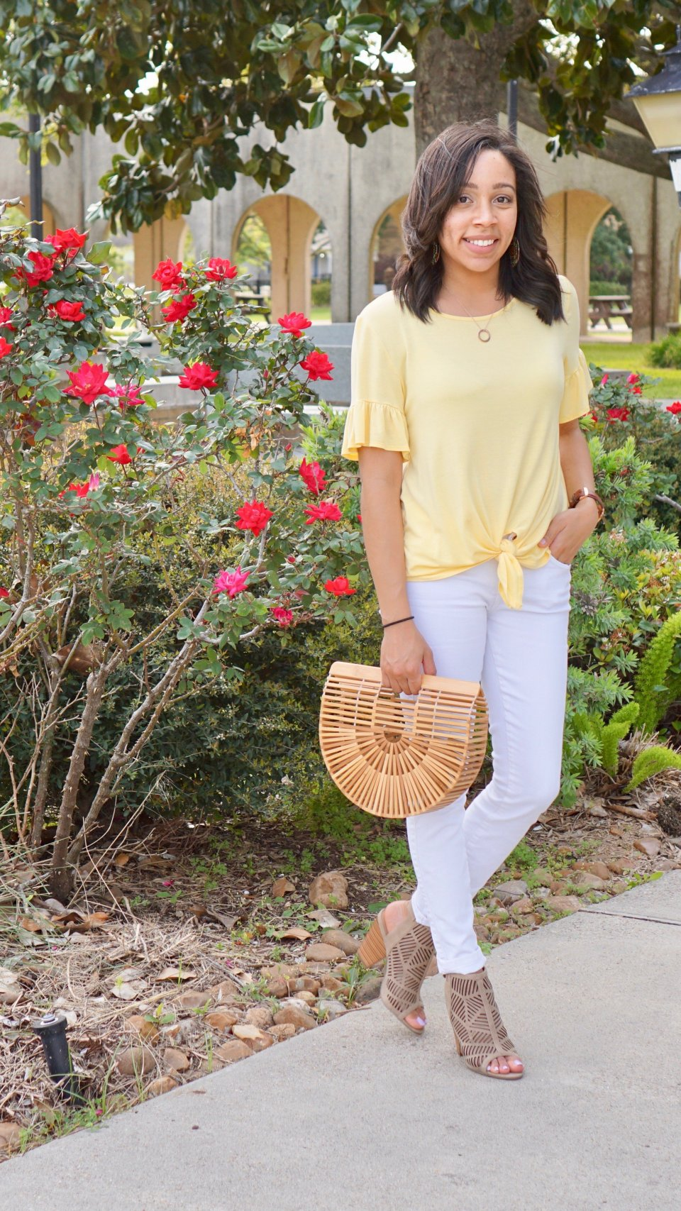 Spring Vibes in Yellow + A Front Tie, Ruffled Sleeves Top to Love