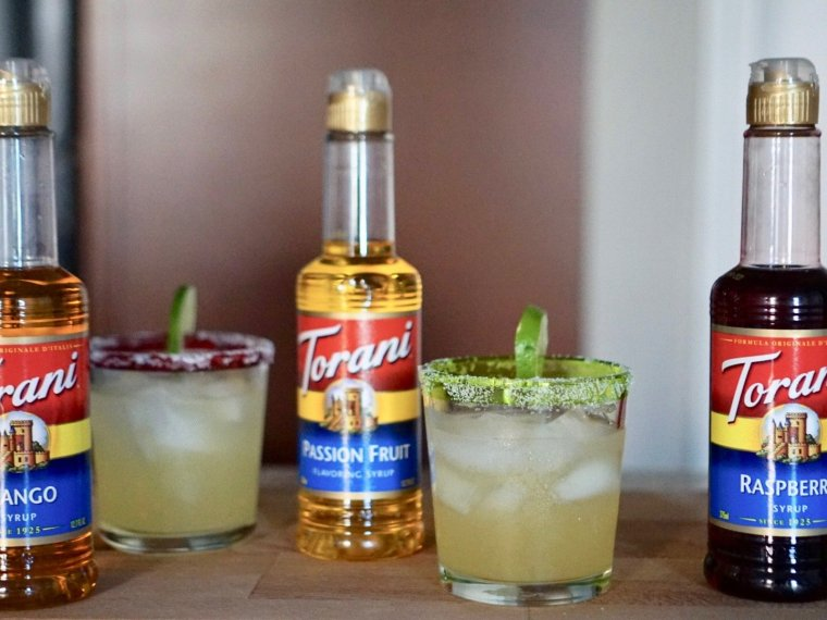 Three Margaritas with Torani Syrups to Drink Now and Later