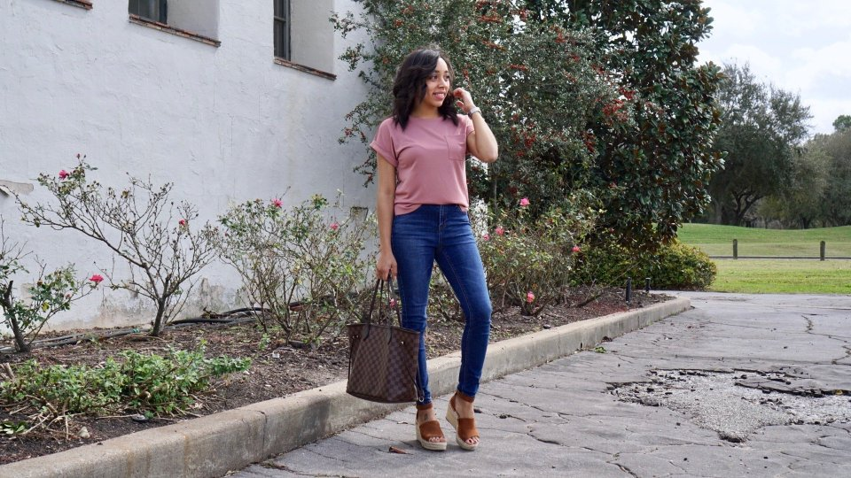 wedges, espadrilles, Louis Vuitton, never full bag, tote bag, LV, pocket t-shirt outfit, pocket t-shirt outfit casual, pocket t-shirt outfit, plain tee, plain tee outfit