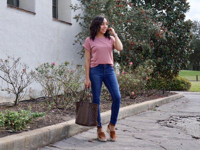 Trendy Thursday LinkUP + a Perfectly Pink Basic Cuff T-Shirt Styled for Spring