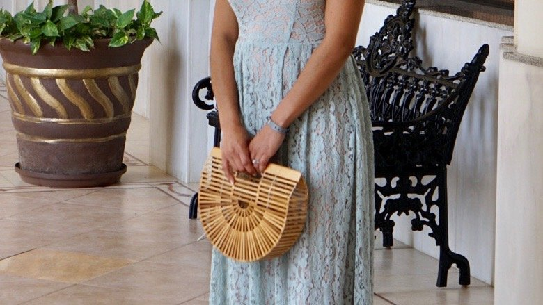 maxi lace dress from H&M with nude block heel sandals and bamboo bag