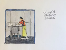 Gutting Fish at the Fish Market