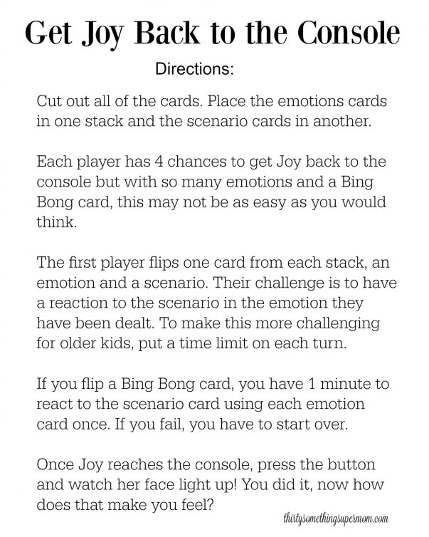 Directions for Inside Out Game