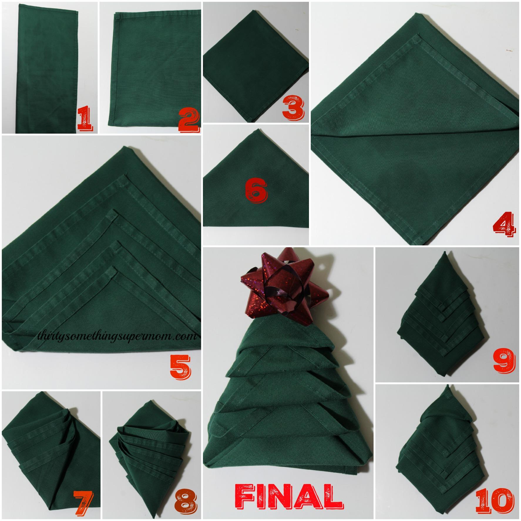 How to fold napkins into christmas trees - Pliage de serviette en papier noel ...