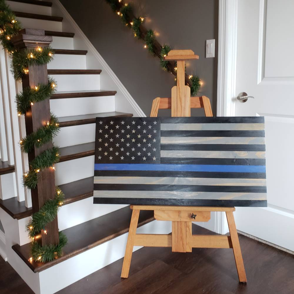 Thin blue line flag wall hanging