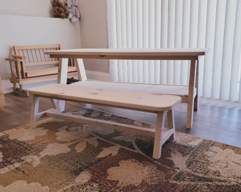 A-Frame Playroom Table and Bench Set Full View Unfinished
