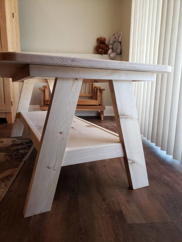 A-Frame Playroom Table Unfinished End Detail