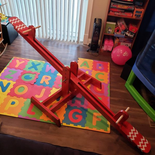 Wooden Teeter-Totter with Adhesive Vincyl Accent