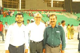 The IL&FS management team for the Stadium. Left to Right: Anil Shirke, Anilkumar Pandala and Muthanna