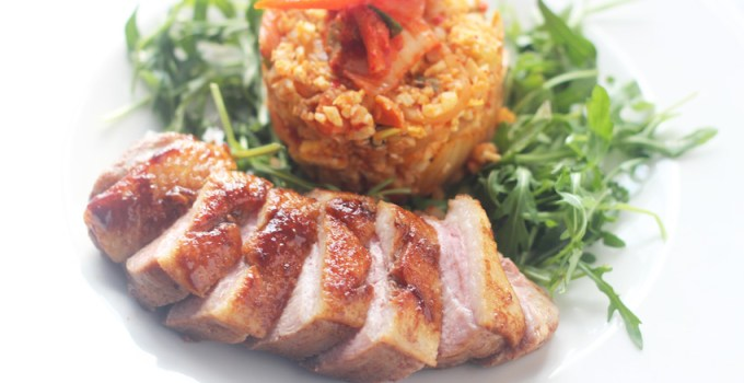 Whole 30/Paleo pressure cooked asian style duck with pinapple kimchi cauliflower fried rice