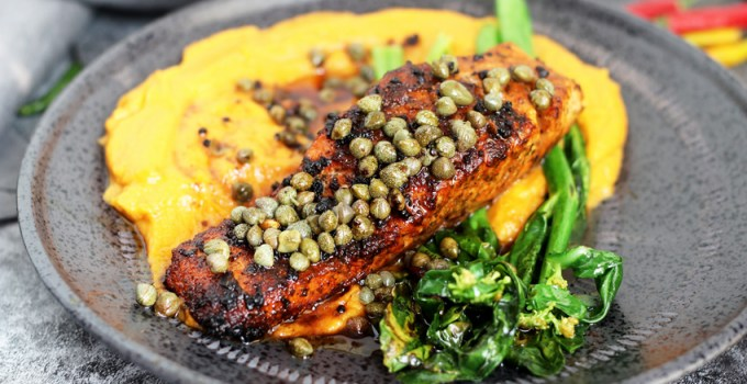 Whole30/Paleo Salmon Piccata with With Creamy Pureed Sweet Potatoes