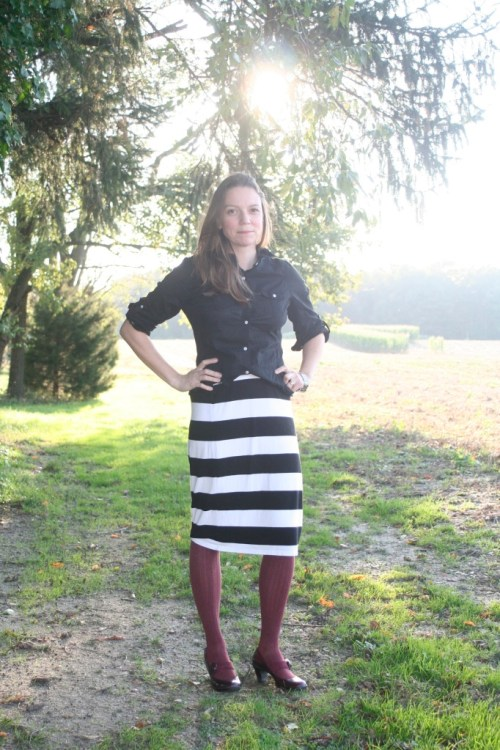 pencil skirt with sunflare
