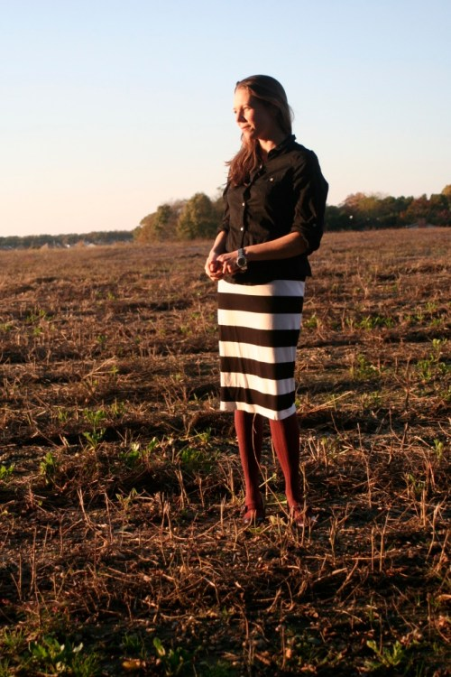 pencil skirt with sunset