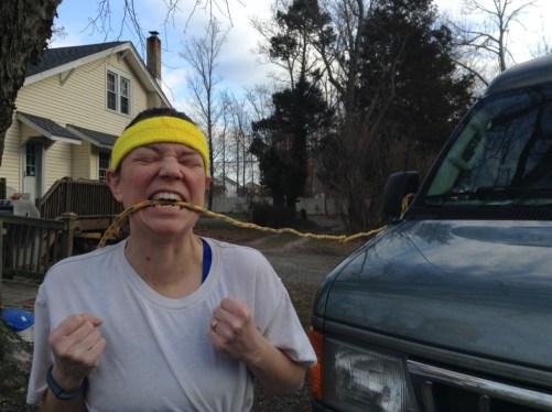 pulling van with teeth