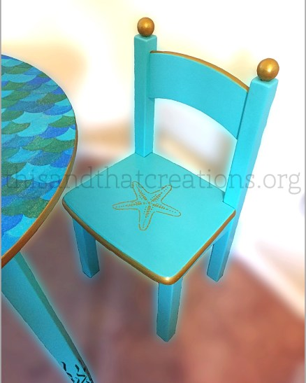 "Mermaid Kids Set $250 Tabletop Diameter 29"", Table Height 20.5"", Seat Height 11.5"""