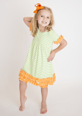 Comfy Green Stripes and Orange Ruffles Knit Tunic Dress with Leggings