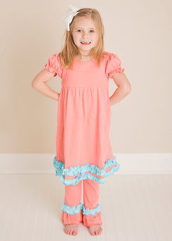 Comfy Coral and Teal Ruffles Knit Tunic Dress with Pants