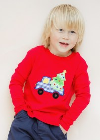 Boy's red knit holiday long sleeve shirt
