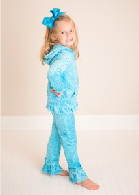 Girls Turquoise Holiday Track Suit Sweater and Pants