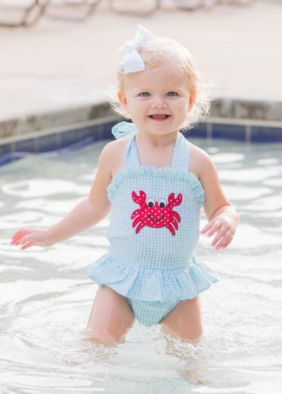 Girl's Crab Applique Turquoise Seersucker Swimsuit
