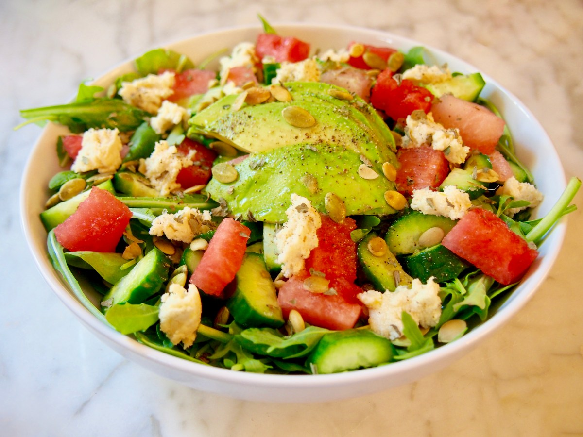 cleanse-friendly watermelon vegan feta salad recipe