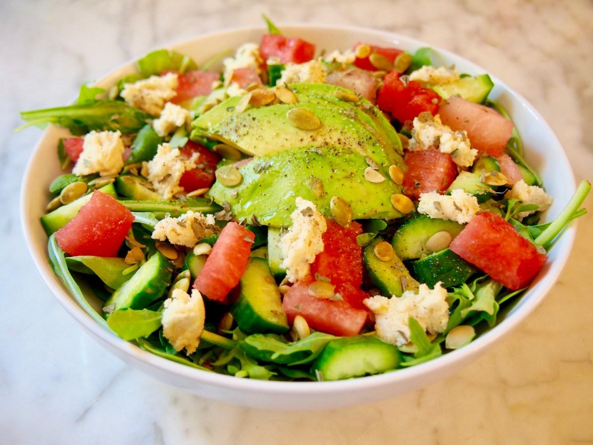 cleanse-friendly watermelon vegan feta salad recipe