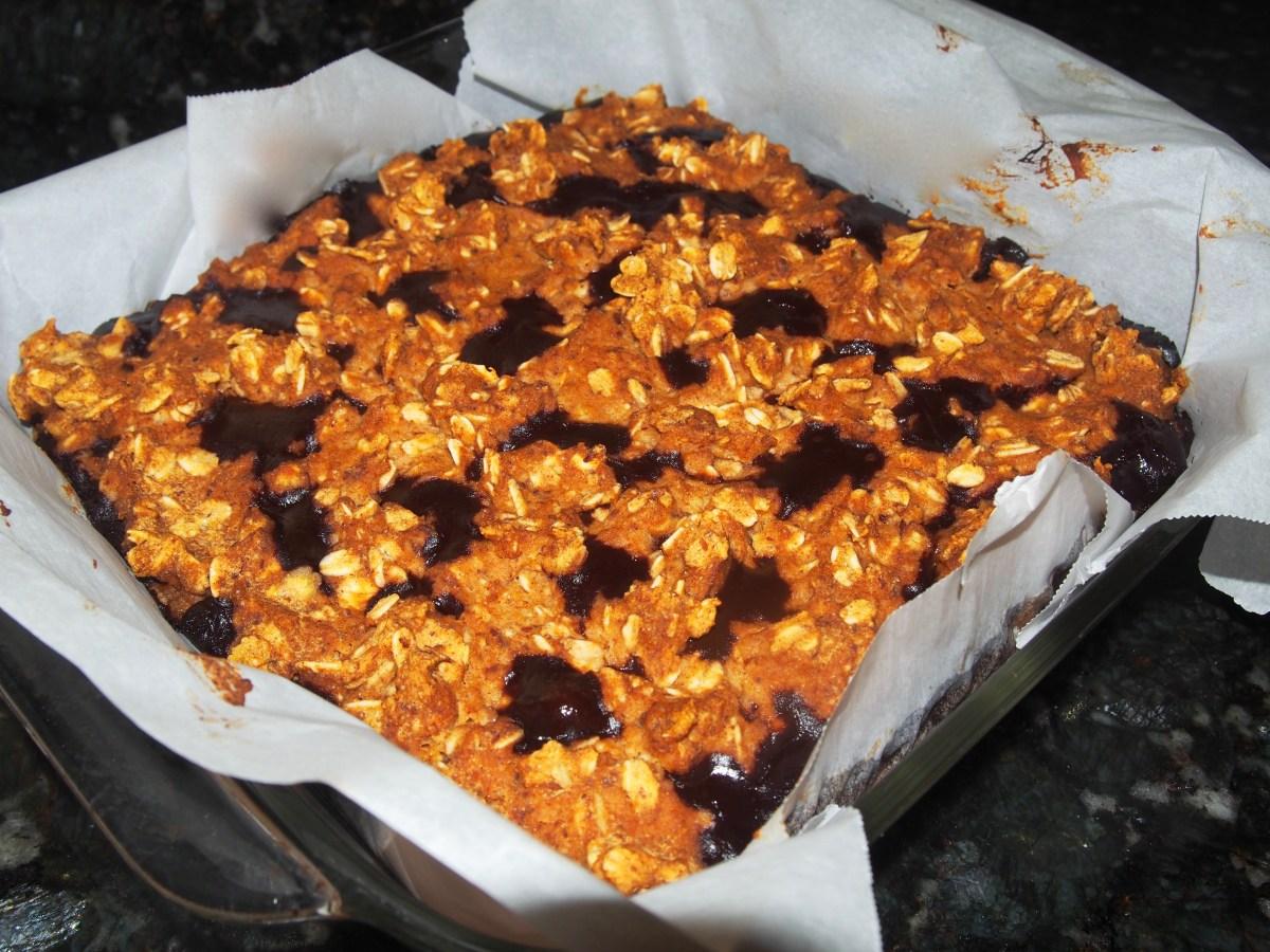 Pumpkin Oatmeal Chocolate Cookie bar vegan gluten-free sugar-free recipe