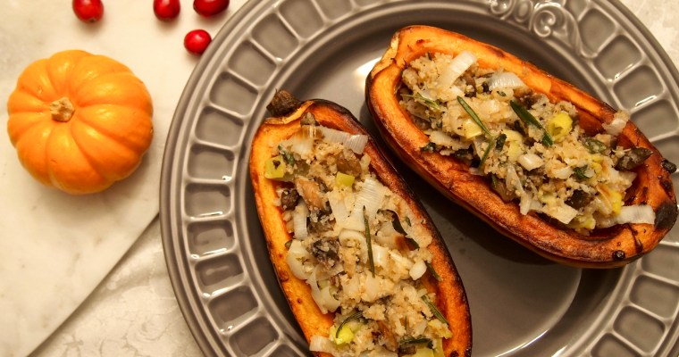 Paleo Stuffing Stuffed Baked Delicata Squash: A Vegan Thanksgiving Solution