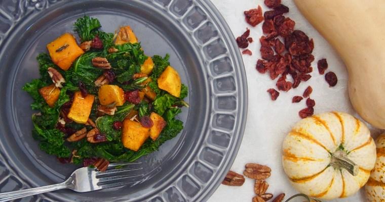 Warm Kale Squash Fall Salad with Rosemary Vinaigrette Plus Benefits of Rosemary