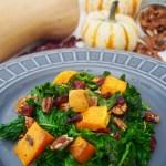 warm kale squash salad with rosemary vinaigrette paleo vegan dairy-free gluten-free